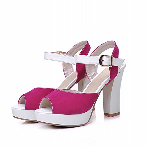 Carol Shoes Fashion Womens Buckle Assorted Colors Charms Platform Chunky High Heel Sandals Rose Red Zl70vweZLr