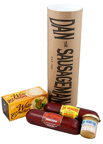 Dan the Sausageman's Tubelicious featuring Dan's Original and Roasted Garlic Red Pepper Summer Sausage and Dan's Sweet n' Hot - Meat Gift Boxes