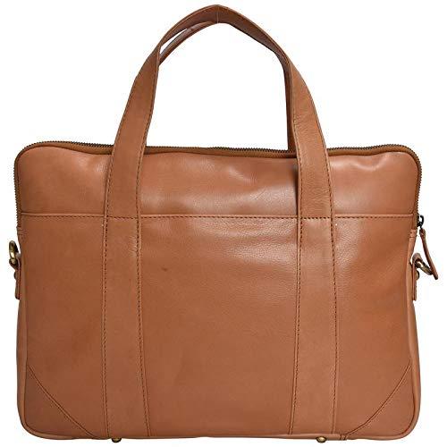 (HiLEDER 100% Pure Genuine Premium Sheep Nappa Leather 14 inch Briefcase Laptop Messenger Satchel Office Bag,Tan )