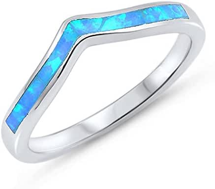 CHOOSE YOUR COLOR Sterling Silver Lab Created Opal Tiara Ring (Size 4 - 10)