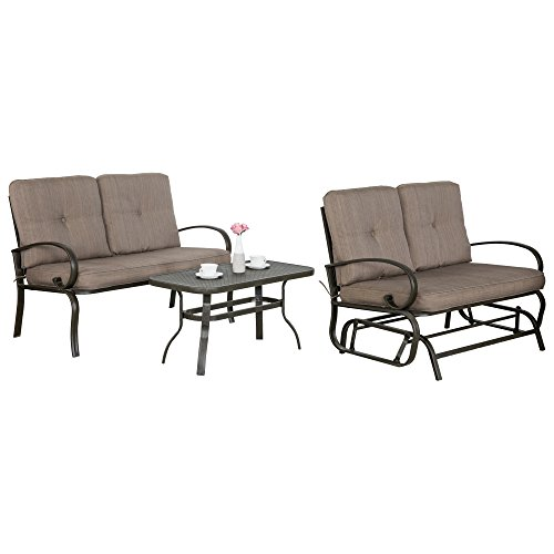 Cloud Mountain 3 PCs Metal Conversation Set Cushioned Outdoor Furniture Garden Patio Wrought Iron Conversation Set with Coffee Table Loveseat Sofa, Gradient Brown