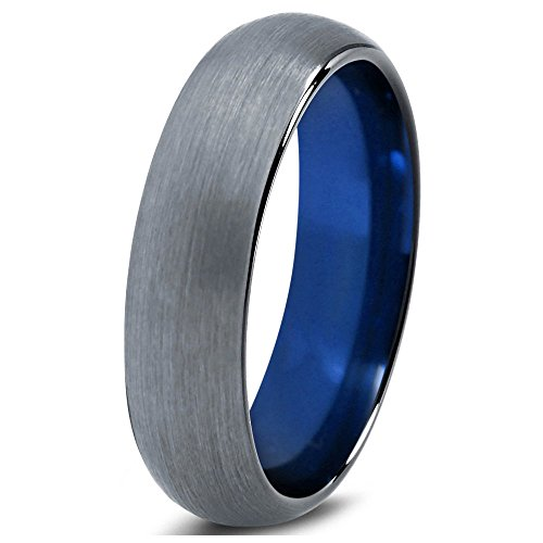 Tungsten Wedding Band Ring 2mm 4mm 6mm 7mm 8mm for Men Women Blue Black Enamel Domed Round Brushed FREE Custom Laser Engraving Lifetime Guarantee