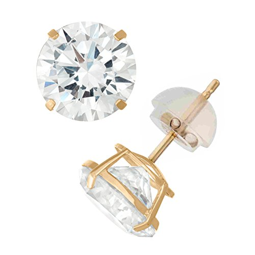Celebrity Cz Jewelry - 14K Yellow Gold Cubic Zirconia CZ 10.0 mm Stud Earring Comfort Fit