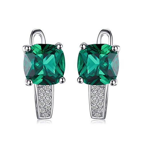 Jewelrypalace Women's Created Ruby Created Sapphire Nano Russian Simulated Emerald 925 Sterling Silver Hoop Earrings -