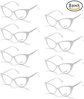 Onnea 8 Pares Gafas de Sol Fiesta Forma Ojos Gato Neon Colores Paquete ( Lente Clara Marco Blancos)  Amazon.es  Juguetes y juegos 6db516259573