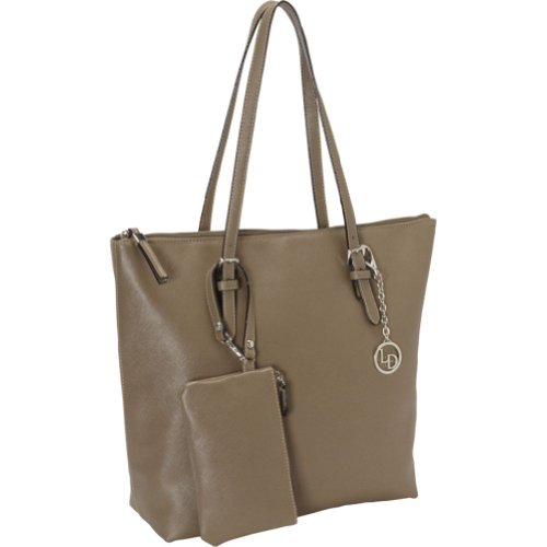 La Diva Womens Textured Buckle Trim Tote Handbag Taupe Extra Large 1440stl