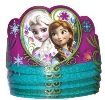 8 Pack of Disney Frozen Tiaras Paper Crowns Party Supply with Anna & Elsa -