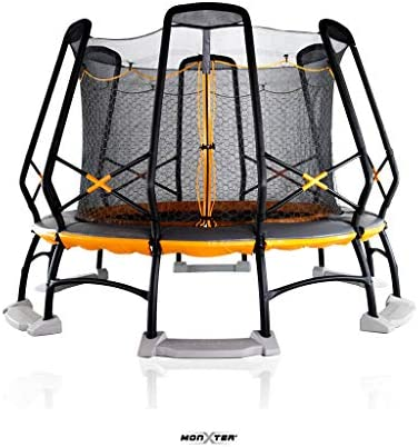 Monxter XT9 14-Foot Round Trampoline with Patent 2-Net Enclosure, Built-In Water Anchor Kit 100 ASTM Safety Compliant Olympian Trampolinist Gymnast Certified in Orange