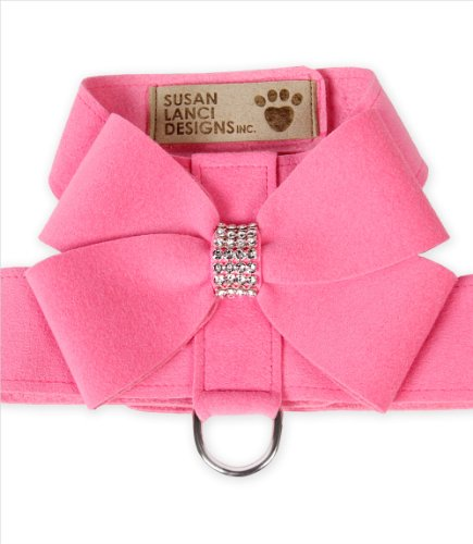 Nouveau Bow Ultrasuede Designer Dog Harness w/ Swarovski Crystals by Susan Lanci Designs (SM (12-14'' girth), Perfect Pink) by Susan Lanci Designs