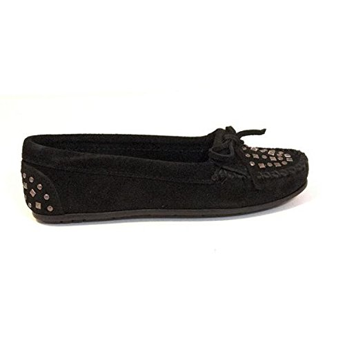 Minnetonka Women's Double Studded Moccasin,Black,6 M (Studded Leather Moccasins)