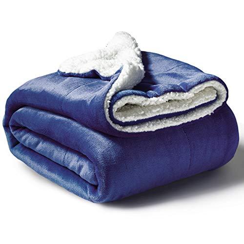 Bedsure Sherpa Fleece Blanket Twin Size Bluish Violet Plush Throw Blanket Fuzzy Soft Blanket Microfiber