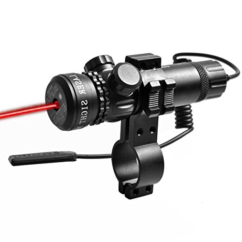Lukher Tactical Red Dot Laser Sight 650nm Outside Adjust Rifle Gun Scope 2 Switch Rail Mounts for Rifles, Shotguns and Pistols