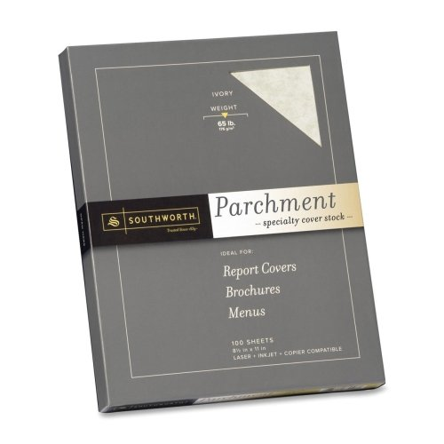 Wholesale CASE of 10 - Southworth Parchment Cover Stock-Fine Parchment Paper,65lb,100 SH/BX,Acid-free/Lignin,Ivory by sou