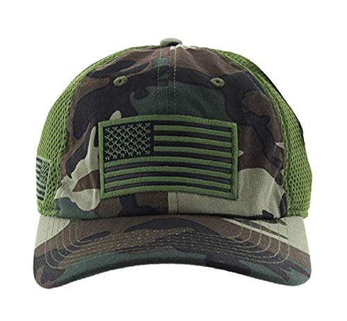 Altis Apparel American US Military Embroidered Flag Soft Mesh Hat Trucker Cap (Green Camo)