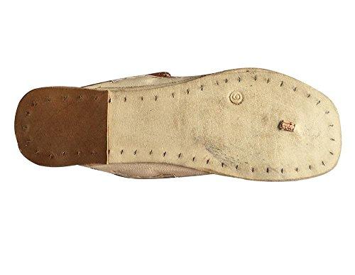 pelle a Kolhapuri indiano fatti style Copper sandali Jutti Mojadi n sandali Step Light in stile Kurti mano H8nIq