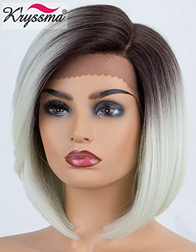 K'ryssma L Part Bob Lace Front Wigs Ombre Light Mint Green Dark Roots Short Bob Synthetic Wig with Deep Side Parting Heat Resistant