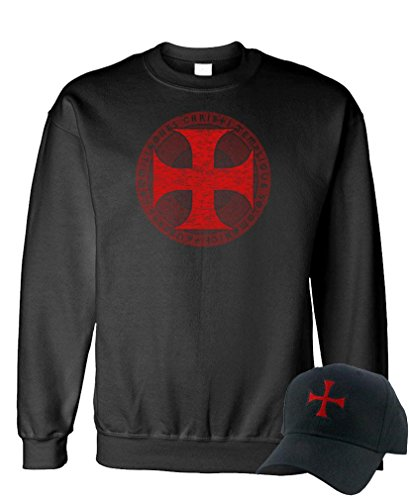 KNIGHTS TEMPLAR CROSS - christian jesus - Sweatshirt + Hat COMBO, XL, Black