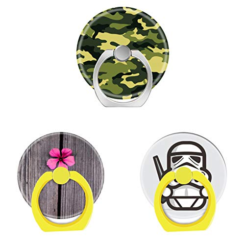 Bsxeos 360°Rotation Cell Phone Ring Holder with Car Mount Work for All Smartphones and Tablets-Cute Pink Flower and Wood Grain-Funny Drawings-Green Camouflage(3 Pack) ()