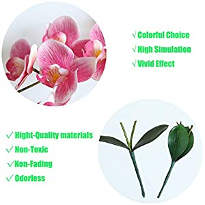 "cn-Knight Artificial Flower 3pcs 18"" Real Touch Butterfly Orchid with Leaves Gel Coated Lifelike Phalaenopsis Moth Orchid for Wedding Home Office Décor Baby Shower Party Centerpieces(Pink) 3"