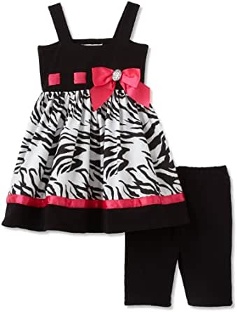 Sweet Heart Rose Little Girls' Zebra Bike Short Set, Black/White/Pink, 2