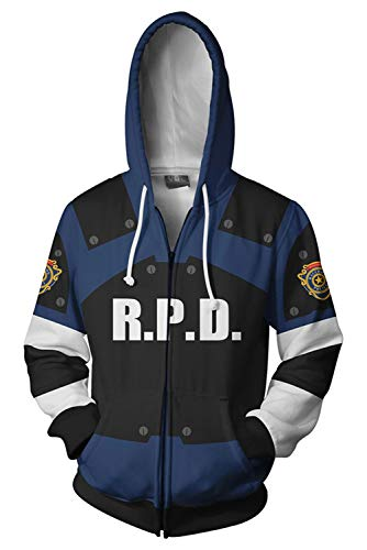 MUCLOTH 3D Printing Leon Kennedy RPD Adult Zip up Hoodie Sweatshirt Halloween Cosplay Costume Unisex]()