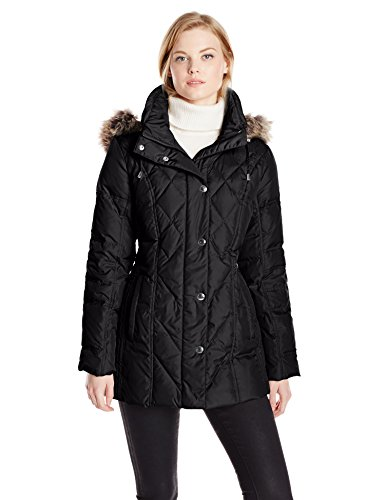 London Fog Women's Diamond Quilted Down Coat, Black, -