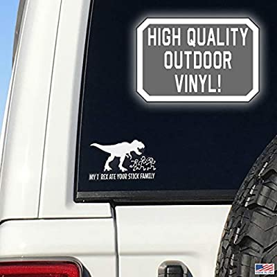 My T-Rex Ate Your Stick Family White Car Truck Window Stickers Dinosaur Funny Window Decal: Automotive