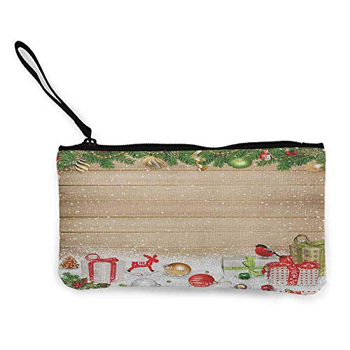Women's hand bag clutch bag Christmas Pine Branches Ornaments on Wooden Planks Snow Presents Vintage Composition Print Wallet Coin Purses Clutch W 8.5