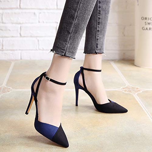 Pointed Heel Shoes Spring Temperament High Sexy Shoes 10Cm Single Shoes Summer SFSYDDY Black Buckle And Suede Splicing qSwgp