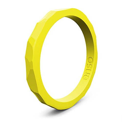 Enso Silicone Ring/Wedding Band. Hammered Design for Men and Women Color: Maize. Size: 14