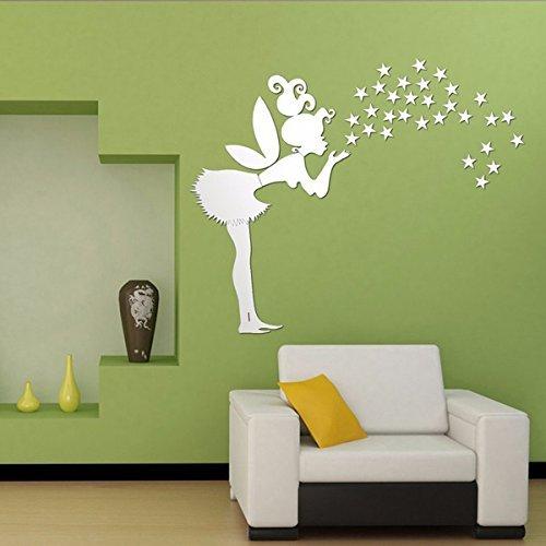 52cm Fairy Wall Stickers Stars Girl Mirror Wall Decal Art Home Decoration // 52cm vinilos decorativos hadas Estrellas espejo de pared chica de arte calcomanía decoración del - Mall Chico