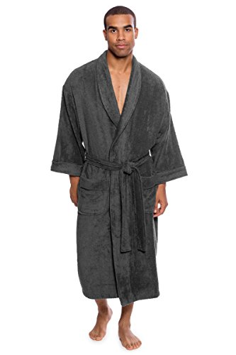 Texere Men's Luxury Terry Cloth Bathrobe (EcoComfort, Dark Shadow, LXL) Robes