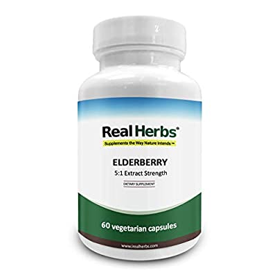 Real Herbs Elderberry Extract - 5:1 Extract with 5% Flavonoids - Boosts Immunity, Antioxidant & Cardiovascular Support - 60 Vegetarian Capsules
