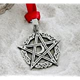 Pewter Pentagram Crescent Moon Pagan Pentacle Christmas Ornament and Holiday Decoration