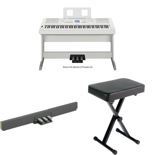 Yamaha dgx650wh digital piano with bench and 3 pedal unit for Yamaha piano pedal unit