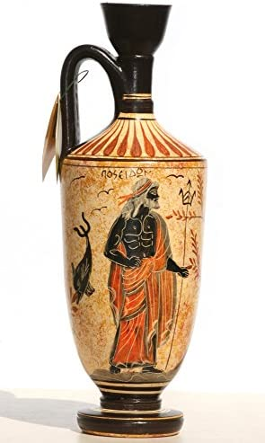 Greek Ceramic Vase Pot Vessel lekythos Goddess Athena God Poseidon 10.2