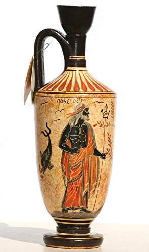 Ancient Greek Pot - Greek Ceramic Vase Pot Vessel lekythos Goddess Athena God Poseidon 10.2΄΄