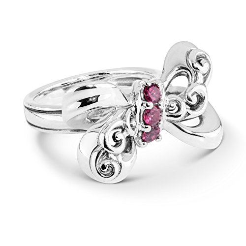 Carolyn Pollack Sterling Silver Garnet Gemstone Bow Shaped Ring Size 8 ()