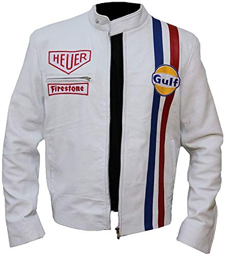 - Steve McQueen Gulf Racing Jacket-Men's Cafe Racer Style Motorcycle White Cotton Jacket (L, White)