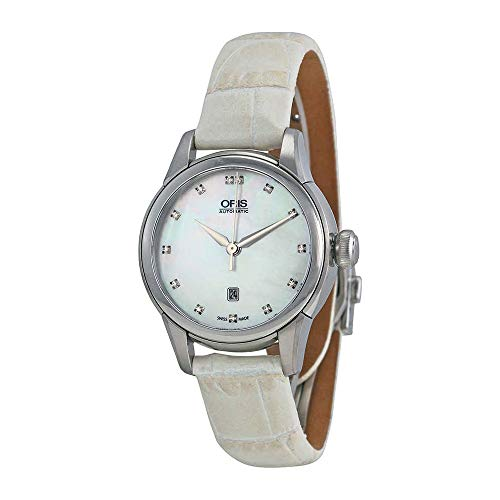 Oris Artelier Date Automatic White Mother Of Pearl Diamond Dial Ladies Watch 561-7687-4091LS