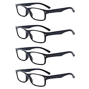 Outray Men Or Women 4 Pack Spring Hinges Frame Rectangular Reading Glasses 3.50