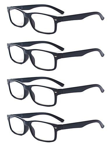 Outray Men Or Women 4 Pack Spring Hinges Frame Rectangular Reading Glasses 2.00
