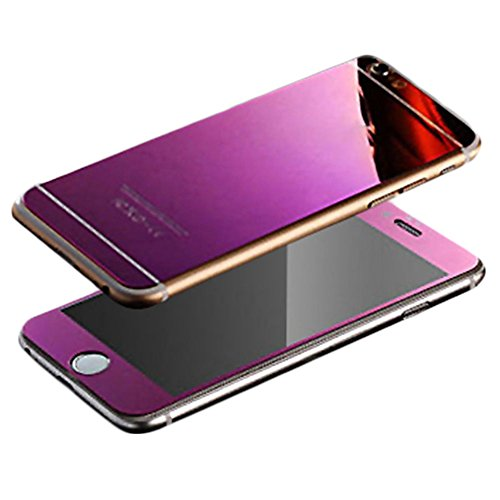 For iPhone 7 Plus Mirror Film, MobilePick Full Body [Front & Back] Colored Tempered Glass Screen Protector Decal Skin Sticker for Apple iPhone 7 Plus 4.7inch (Purple)