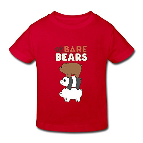 Kids Toddler We Bare Bears Little Boys Girls Tee Shirt Red Size 4 Toddler
