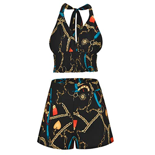 Yezijin_Women's Wear Blouses for Women Fashion 2019, Sexy Women Printed Sleeveless Bndage Vest Blouse + Shorts Two-Piece Outfit Blue ()