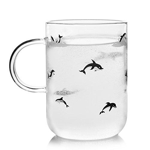 ELITEA Glass Mug with Handle Clear Cute Coffee Mugs Tea Cup with Dolphin Print 16.3oz