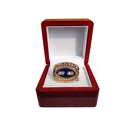 (Gloral HIF New York Giants Championship Ring Super Bowl 1990 Ring Replica Lawrence Taylor with Display Wooden)