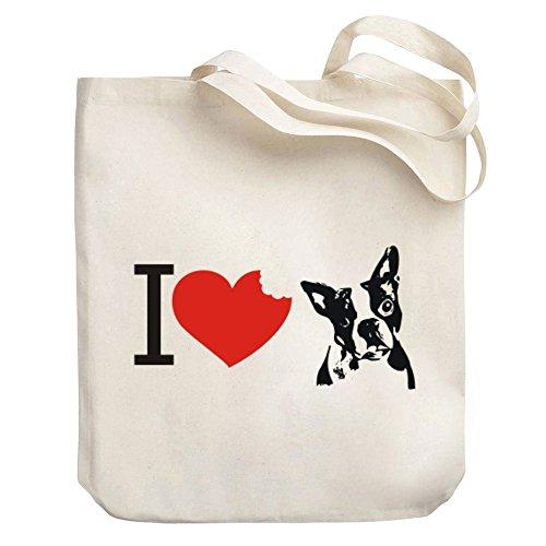 Teeburon I love Boston Terriers Canvas Tote (Boston Canvas Bag)