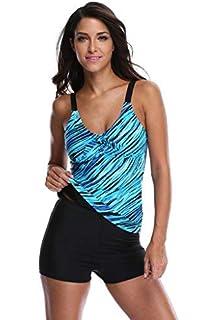 d4725599ac ATTRACO Stripe Swimwear Set for Women Padded Tankini Swim Suits Blue Size 8
