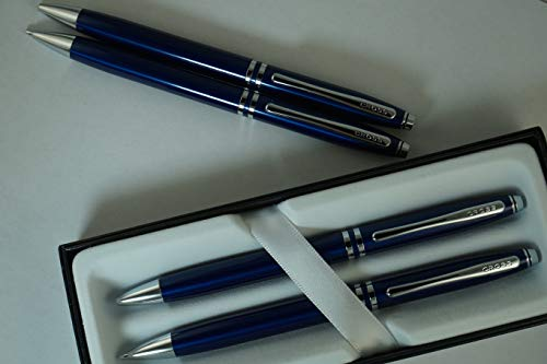 Cross Classic Executive Companion Avatar Blue Lacquer and Extremely Polished Chrome Appointments with Distinctive Cross Special Signature Mid Rings, Pen and 0.7MM Pencil Set. A Great Gift- Black Ink -